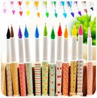 Gel Pens beautiful writings - 12 set DIY NEW Kawaii Cartoon Colorful Gel Pen Cute Beautiful Dot Pens Fountain Pen Nib Korean Stationery JIA091