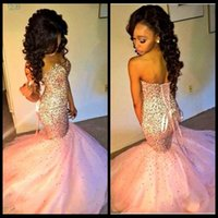 Wholesale Glamorous Sweetheart Mermaid Pink Prom Dress Sleeveless Lace up Puffy Court Train Newest Bling Pageant Dresses Party Evening