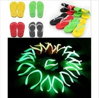 Wholesale 5 colors Hot selling neon luminous lovers design flip flops for women fashion concise beach slippers candy colors LJJC481 pairs