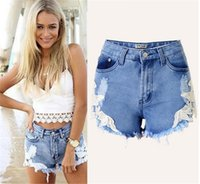 Wholesale Women sexy summer short jeans big size crochet flower lace short jeans hollow out slim look denim high waisted ripped shorts