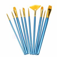 acrylic paint cleaner - New tool for Pc Nylon Hair Acrylic Watercolor Flabellum Pointed Tip Artists Paint Brush Set