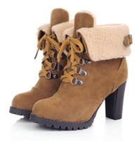 Cheap Free Shipping,Cuffed Fur Trim Lace Up High Heel Ankle Boots,Euro 39 US 8.5 Size,Womens Ladies Shoes