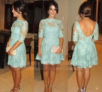 Wholesale Sexy Mint Green Lace Cocktail Party Dresses Half Long Sleeve Sheer Neck Backless Mini Short Prom Evening Gowns Cheap