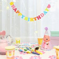 Wholesale 1 M Non woven cloth Happy Birthday flags birthday party banner decoration for kids children party supplies