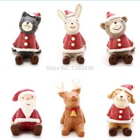 animal nativity - Chirstmas Gift Decoration Indoor Ornaments Cartoon Animal Figurines Nativity Creche Cute Snowman Santa Deer Animal Resin