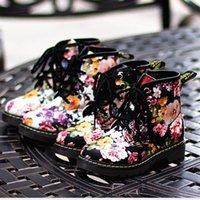 velvet flower - Girls New Winter Shoes Flower Print in Low Tube Socks Cotton Velvet Boots Pu Martin Boots