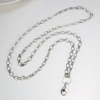 Wholesale floating locket chain women s White gold plated Copper lobster cm rolo chain necklace for floating glass locket xmas mother