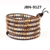 beaded chain braclets - 2015 Infinity braclets natural dot agate beaded Wrap Bracelet packing bracelets for men gift crystal bracelet JBN