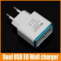 Wholesale Color Edge Dual USB EU US Wall Charger A Universal AC Travel Power Adapter No Package For Iphone For Samsung For Mobile Phones up