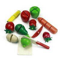 Wholesale New Children Wood Kitchen Toys Colorful Pretend Toys Educational Cut Toys for Kids Baby Cut Fruit Vegetable High Qulity