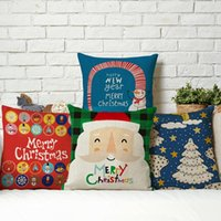 bedroom throw pillows - New Linen Cotton Pillow Case Christmas Xmas Throw Pillow Cover Choices Square For Home Bedroom