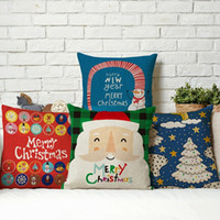 antibacterial pillow - New Christmas Series Linen Cotton Pillow Case Santa Claus Polar Bear Snowman Antibacterial Square Home Office Hotel Supplies