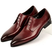 Wholesale Reddish brown black mens wedding shoes causal business shoes mens genuine leather dress shoes mens office shoes formal