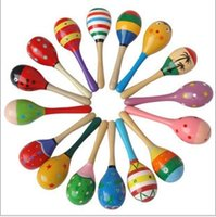 Wholesale 1PC High Quality Wooden Maraca Rattles Shaker Percussion Kid Baby Musical Toy Favor Child Baby Gift Z363