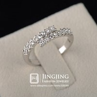 Wholesale White Gold Plated Latest Designs mm Rhinestones Setting Crossover Wedding Bands for Women JingJing GA031D