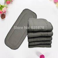 Wholesale 5Pcs Bamboo Fiber Charcoal layers Washable Cloth Diaper Nappies Microfiber Insert Reusable order lt no track
