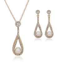 Earrings & Necklace pearl - 2015 African Fashion Pearl Jewelry Sets For Women K Gold Plated Wedding Necklace Pendant Earring Set