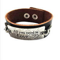 american metal stamping - Vintage Hand Stamped Jewelry All you need is Love Inspirational metal plate leather bracelets Bangle message bracelets for women men