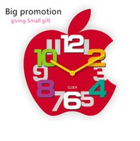 apple shaped clock - Clock On Wall Big Promotion Digital D Wall Clock Big Size Apple Shaped Quartz Wall Clock For Kids Rooms Decor