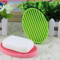 Wholesale Cute Fashion Silicone Flexible Soap Dish Plate Bathroom Soap Holder Green Color