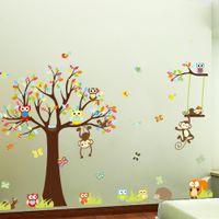 PVC owl decor - Large XL size Jungle Animals Owls Tree Wall Sticker Squirrel Monkey Bird Vinyl Mural Decal Kids Room Decor