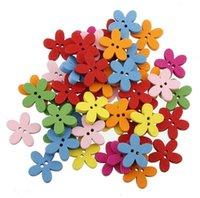 Wholesale 100pcs mm Colorful Flower Flatback DIY Wooden Button Sewing Craft Scrapbooking