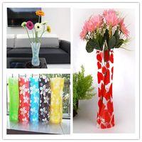 venda por atacado and plastic flower vases-Início decalques Criativo de Proteção Ambiental PVC plástico dobrável Vase Flowers Jardiniere cores misturadas 2015 Hot Sale 200 pcs NAR019