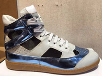 able black - High quality Maison Martin Margiela MMM hot man breath able leather high top Lovers shoes