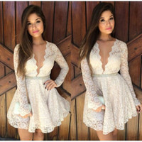 apple peal - White Lace Short Cocktail Dresses Long Sleeves A line Deep V neck Illusion Party Gowns Sexy Peals Belt Evening Club Wear Cheap