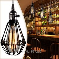 america sockets - Vintage Light Fixture E27 Socket Black Wrought Iron Birdcage Chandelier Lamp Base Europe America Balcony Attic Lamp Holder