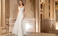 Cheap 2015 A Line Wedding Dresses Chiffon Sculpted V Neckline Straps Sleeveless Covered Button Ruched Bead Bridal Gowns Sweep Train Demetrios 3216