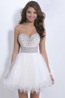 Wholesale White A Line Beading Bling Bling Prom Dresses Sweetheart Neck Tulle Backless Custom Made Puffy Evening Gown Party Gown Dresses