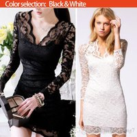 Wholesale 2015 Hot Selling Morden Women Lace Dress Scalloped V Neck Ladies Sexy Slim Sleeve Cocktail Dress