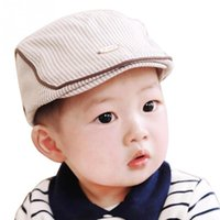 Wholesale Fashion Cute Baby Kids Infant Boy Girl Stripe Beret Cap Peaked Baseball Hat New