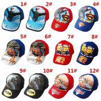 Wholesale 12 Colors Hot Sale Children Hat Cotton Cartoon SpiderMan Cars SuperMan BatMan Print Cap Girls Boys Sun Hat Baseball Cap Spring Summer Hats