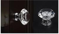 Bon Marché Jeu de bouton à vis-Verre Cristal 30mm Diamond Cut Bouton de porte pour armoire Cabinet tiroirs Commode Armoire Avec vis Set