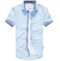 Wholesale South Korea Men S Fashion - Wholesale-Men's Pure Color Leisure Fashion Short Sleeve Shirts South Korea Style Joining Together Summer Shirts For Charming Men best
