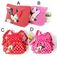 backpacks for toddler girls - Retail children backpacks baby girls school Bags polka dots cartoon Minnie mouse kids handbag toddler shoulder bag for kindergarten HX