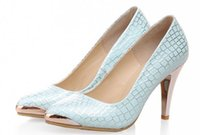 Precio de Snake skin-2015 de primavera y otoño Nuevos productos enumerados mujeres zapatos de tacones altos boda Piel de serpiente punta tamaño Zapatos de cuero: US4_US8 NGX14