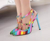 Stiletto Heel band pump - New Women Rainbow High heels shoes woman Ladies Sexy Pointed Toe Colorful High Heels Buckle Studded Stilett Shoes pumps