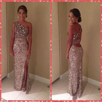attractive long sexy dress - 2015 Attractive Beaded Crystal Sheath Women Prom Dresses Split Front Floor Length Sequined Long Formal Evening Party Gowns Custom From China