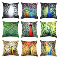 Wholesale New Arrivals Peacock Feather Home Textiles Decor Satin Peach Pillow Cover Cushion Case Pillowslip cm x cm PX147