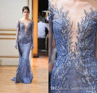 Reference Images Jewel/Bateau Tulle 2016 Zuhair Murad Prom Dress Mermaid Sheer Bateau Neck Long Sleeve Embroidery Beaded Sequins Tulle Floor Length Evening Dress DL1310089