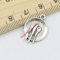 antique silver tableware - 20pcs Antique Silver Plated Tableware Charms Pendants for Jewelry Making DIY Handmade Craft x15mm Jewelry making DIY