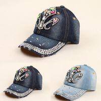 ab baseball - 2015 New Hot sale Summer style AB rhinestone cowboy baseball axe point drill baseball cap for women High quality New Retail