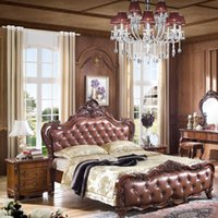Wholesale American Leather Wood Bed European style carved Leather Beds good quality bedroom furniture