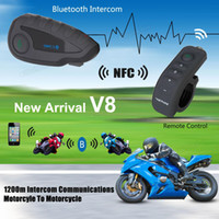 Wholesale 2016 hot V8 Motorcycle Helmet Remote ControI Handle Interphone Bluetooth Intercom Headset Riders with NFC Function MOT_50F