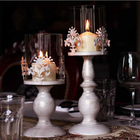 Wholesale Vintage candle holders metal glass white candleholder home decorations dinning table candlestick