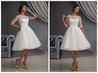 awesome image - 2015 Customized Cheap Handmade Awesome Cocktail Dresses A Line Organza Crew Half Sleeves Natural Waist Knee Length Cocktail Wedding Dresses