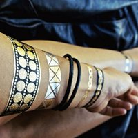 Wholesale Newest hot sale Metallic gold black bracelet water transfer temporary tattoo sticker
